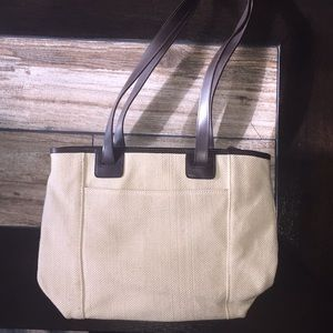 Beige and Brown Long Strap Purse